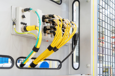 Close up of electrical switches for production lines