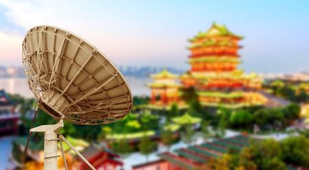 poetic: Satellite antenna and Nanchang Tengwangge night view
