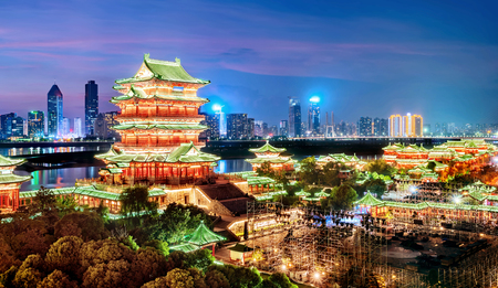 nanchang tengwang pavilion at night ,is one of chinese famous ancient building
