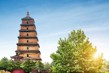 Giant Wild Goose Pagoda in the Morning, Xian, China Banco de Imagens