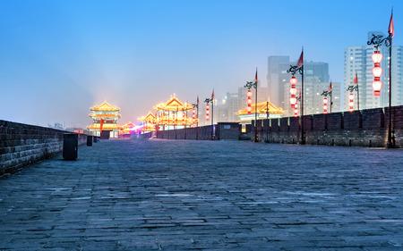 ancient city wall at night, Xian,China