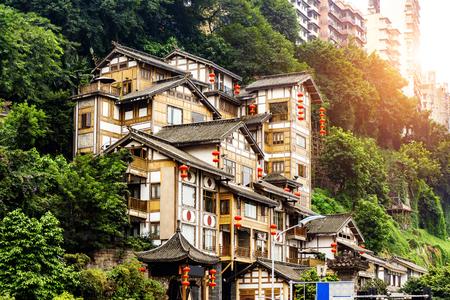 Chongqing, China's classical architecture: Hongyadong. 스톡 콘텐츠