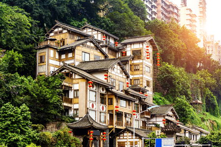 Chongqing, China's classical architecture: Hongyadong. 免版税图像