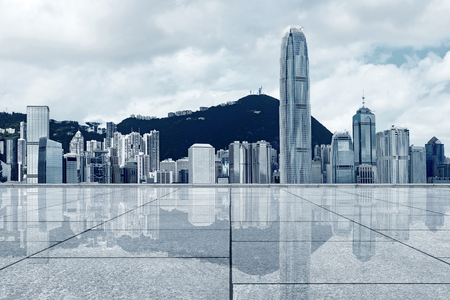 Dense skyscrapers and marble floors, Hong Kong, China. Standard-Bild