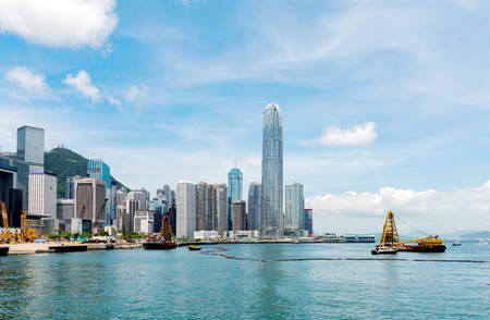 Hong Kong city skyline, famous Victoria Harbor.