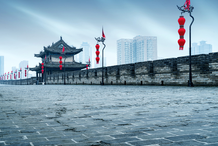 Ancient tower on city wall in Xian - China