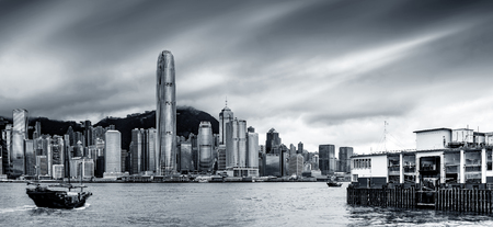 Victoria Harbor, Metropolitan City Skyline, Hong Kong, China. Standard-Bild