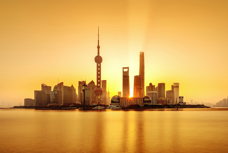 Shanghai morning panorama before sunrise with city skyline and colorful sky over Huangpu River