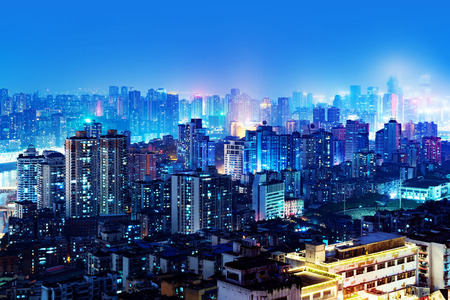 High-rise mountain city night, Chinas western city of Chongqing.