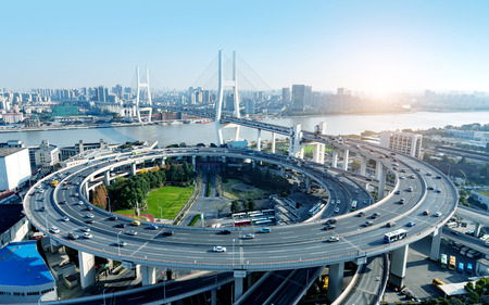 Beautiful Nanpu Bridge, crossing the Huangpu River, Shanghai, China.