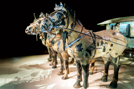 Xi an, China - on October 17, 2017: the worlds most famous Terra Cotta Warriors Bronze chariot,The eighth wonder of the world?qin shihuang terracotta army is one of the world cultural heritage.