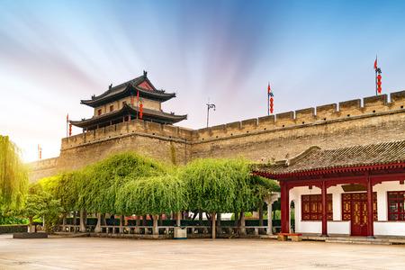 Ancient city walls in Xian, China, landscape at dusk.