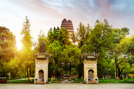 The small wild goose pagoda is a historical sites in Xi An, China