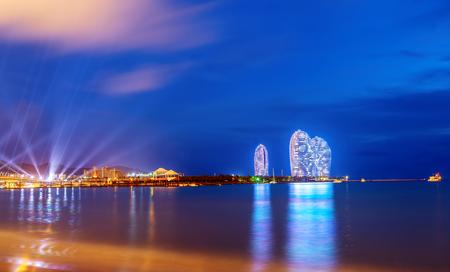 Sanya, China - June 29, 2017: Beautiful Sanya Bay and Phoenix Island, is a landmark Sanya.