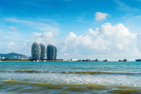 Sanya, China - June 27, 2017:  Sanya Bay and Phoenix Island, is a landmark in Sanya.