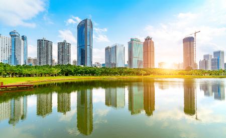 China Haikou Cityscape, high-rise by the lake.