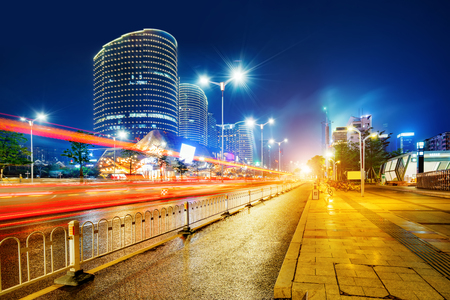 Night view of modern city, Nanning, China. Banco de Imagens