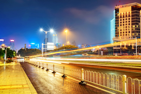 Night view of modern city, Nanning, China. Stock Photo