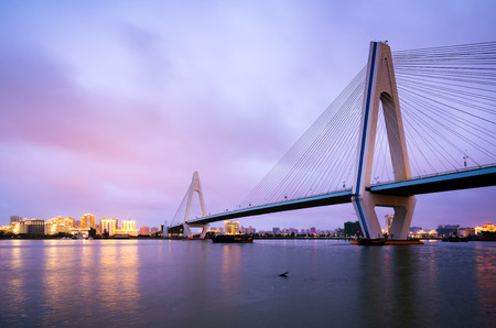 City skyline and sea bridge at night, Haikou, Hainan, China 免版税图像