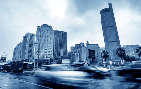 The citys tall buildings and high-speed cars, the urban landscape of Nanning, China.