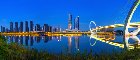 China Nanjing city skyline and modern buildings, night landscape.