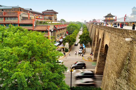 On October 13, 2017, xi 'an city wall and city. Xi 'an is a famous tourist scenic spot, xi 'an city wall is a famous destination.