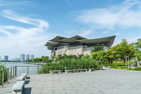 Wuxi, China - June 21, 2018: Wuxi Grand Theatre is located in Taihu New City, Wuxi City, with a total construction area of about 78,000 square meters and a height of more than 50 meters.
