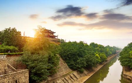 Xi'an ancient city wall and moat, China Shaanxi.