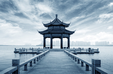 pavilion by the Jinji Lake in Suzhou,China.