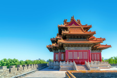 Forbidden City, the turret on the wall, Beijing, China.
