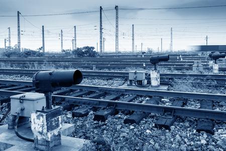 Railway transportation hubs and signal lights. Stock Photo