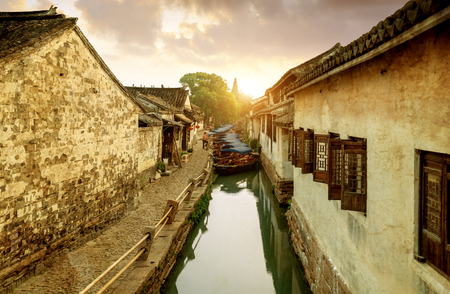 Zhouzhuang, China is a famous water town in the Suzhou area. Imagens