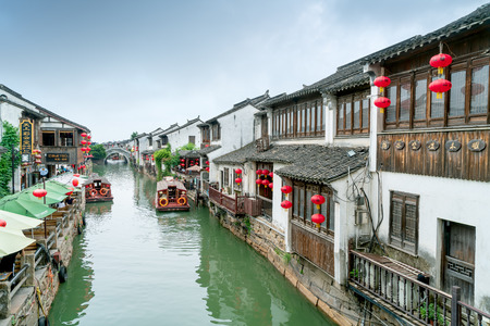 SUZHOU, China - June 23, 2018: Shantang Street is located in the northwest of Suzhou Ancient City, with a total length of about 3,600 meters. It has typical Jiangnan water features. Editorial