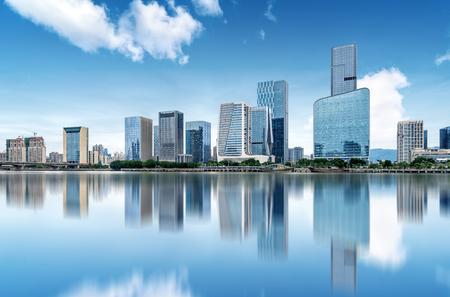 the city skyline in Fuzhou, China.