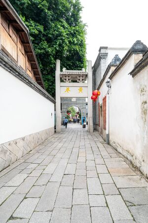 Sanfang Qixiang (Three Lanes and Seven Alleys), Fuzhou, China - 07 May 2019: People visiting the famous travel destination and walking on the Main Street.