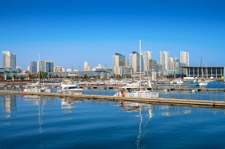 Qingdao Bay yacht wharf and urban architectural landscape