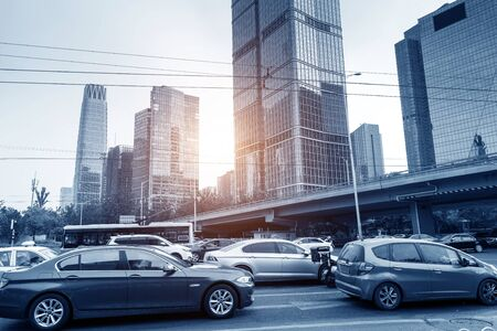Streets and cars in the Central Business District, Beijing, China. Imagens