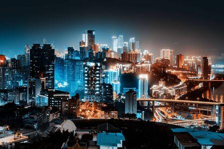High-rise mountain city night, Chinas western city of Chongqing.