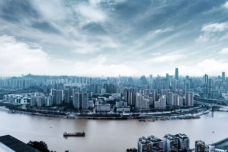 Aerial view of the Yangtze River and Chongqing city landscape