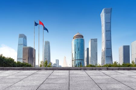 Marble platform and skyscrapers, Beijing CBD, China.