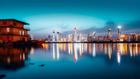 Sky night view of the city night, China Nanchang