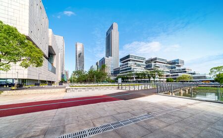 City square and modern skyscrapers, Ninbo, China.