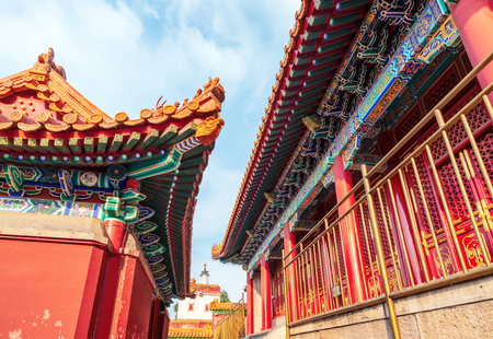 Ancient buildings of the Summer Palace in Beijing, China. Редакционное