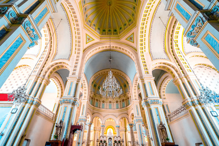 The interior of the Catholic West Kaizhan Hall was built in 1916 in Tianjin, China.