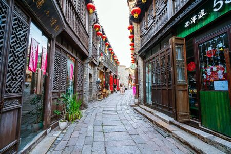 Zhenjiang - China - 15 June ,2018: Xijindu Ancient Street is the most preserved, concentrated and intact area of Zhenjiang cultural relics. Редакционное