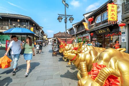 HANGZHOU CHINA - 7 June 2019 : He Fang historical street.historical buildings from the Ming and Qing dynasty.