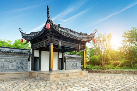 An ancient stage on the edge of Wuxi Canal, Jiangsu Province, China