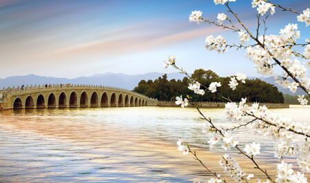 Seventeen hole bridge in the Summer Palace of Beijing, an example of classical Chinese architectural design Stok Fotoğraf