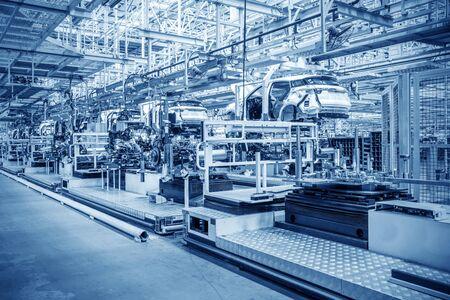 현대 자동차 생산 라인, 자동화 된 생산 설비. 스톡 콘텐츠
