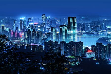 High-rise mountain city night view, China's western city of Chongqing.